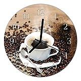 Glasuhr von DekoGlas 30cm runde Bilderuhr aus Acrylglas mit lautlosem Quarzuhrwerk Glaswanduhr Dekouhr Uhr Wanduhren aus PMMA Küchenuhr Glasbilder Wanddekoration Tasse Kaffee braun