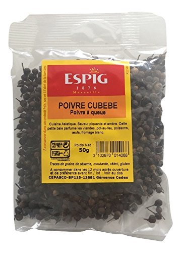 POIVRE A QUEUE / CUBEBE grains entier 50 grammes en sachet, EXCELLENTE QUALITE