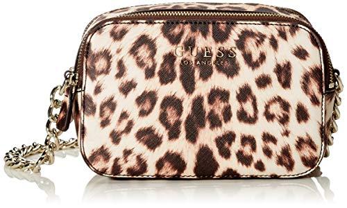 Guess Damen Robyn Crossbody Camera Umhängetasche, Mehrfarbig (Leopard), 7.5x14x20 centimeters