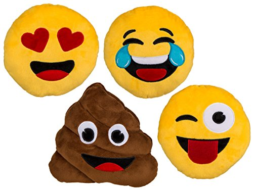 Bada Bing 2er Set Kissen Emoji klein süss Emotionen Smiley 4 fach sortiert witzig
