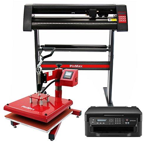 PixMax Schwingpresse Hitzepresse Transferpresse T-Shirtpresse Textildruck inkll. Inkjet Drucker & Schneideplotter Folienplotter Plotter mit Gratis Schneidemesser