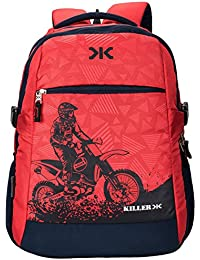 Laptop Backpack Bags - Killer Berlin 33L Printed Polyester Red & Navy Blue Laptop Backpack