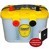 Optima Yellow Top YT U 4,2 - 12 V / 55 Ah - 765 A/EN Starterbatterie Versorgungsbatterie inkl. 10 Ah PowerBank