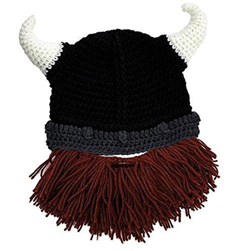 MagiDeal Herren Damen Mütze Beanie Mit abnehmbarem Bart 3 Faben Halloween Kostüm Mütze - Braun, (Herr Kostüm März)