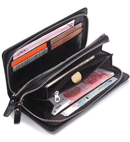 FEEHAN Große Kapazität Luxus Wax männlich-echtes Leder-Geldbörse mit Reißverschluss-Tasche (hochgradigem-Paket) 195*95*20MM Schwarz