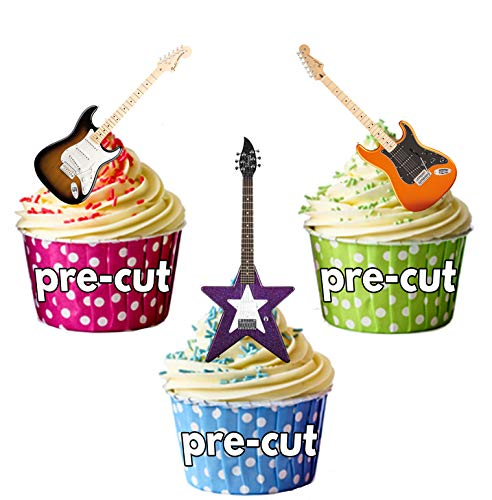 Electric Guitar Party Pack Mix - Edible Stand-up Cupcake Toppers by AKGifts