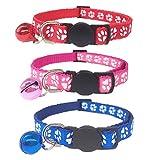 Tafeiya Katzenhalsband, verstellbar, mit Glöckchen, Sicherheitsschnalle, Rot, Rosa, Blau, 3 Stück