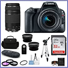 Canon EOS Rebel SL2 DSLR Camera With 18-55mm Lens (Black) & 75-300mm Lens Bundle: Includes: 32GB SDHC Class 10 Memory Card + Auto Power Flash + 58mm Telephoto & Wide Angle Lenses And More ...