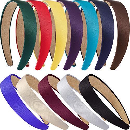 12 Stück Harte Stirnbänder Satin Stirnbänder 1 Zoll Stirnbänder Rutschfeste Band Haarbänder DIY Haarschmuck Stirnbänder Headwear für Damen Mädchen -