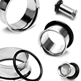 """Pair of Surgical Steel Single Flared Tunnel Plugs Sizes: 12GA to 2 Inch E1 Sold As a Pair (1&7/8"""" (48mm))"""