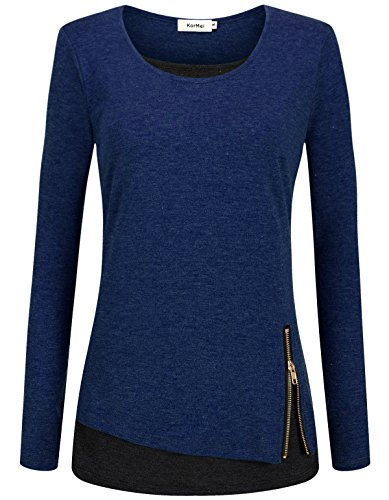 KorMei Damen Langarmshirt Rundkragen Layered Zip Faux Twinset T-Shirt Blau&Schwarz XL
