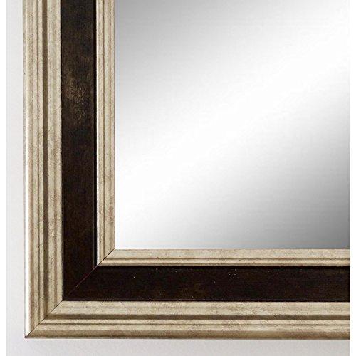 Wandspiegel Spiegel Badspiegel - Hamburg 3,4 - Silber / Schwarz - 50 x 70 - Außenmaß inkl. Massivholz-Rahmen - viele Größen verfügbar - Modern, Barock, Antik, Vintage