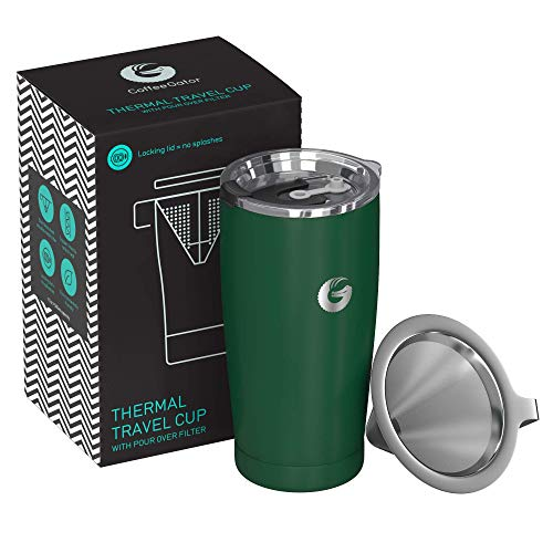 Coffee Gator Pour Over Kaffeebereiter - All-in-One Thermo-Kaffeebecher für unterwegs und Handtropf-Kaffeemaschine - Vakuumisolierter Edelstahl mit papierlosem Filter - 585ml - Grün