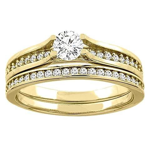 Revoni 14 Karat Gelbgold 3-Stein Brillantschliff Ring Diamant mit Diamanten CY425D25369