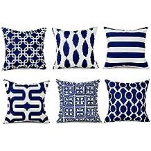 Top finel Hogar 6 Cojines Decorativa Almohadas Fundas Para Sofá Cama Sala de Estar Azul marino