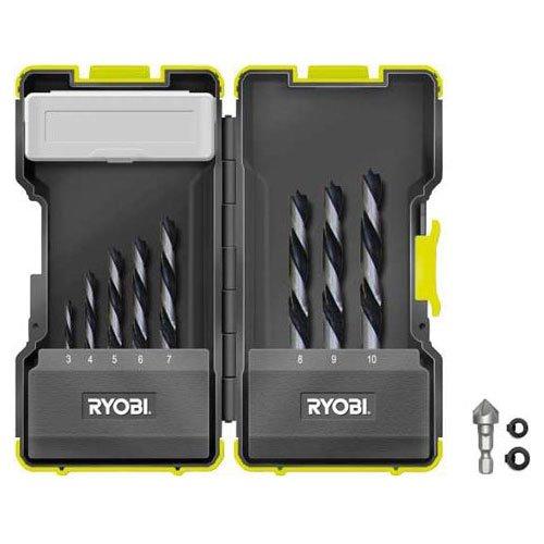 Präzise Engineered royobi ProGrade 8-teiliges Brad Punkt Bohrer Set 3–10mm in stapelbar Fall [Multi Set]–W/3Jahre rescu3® Garantie (Ryobi Bohrer Fall)
