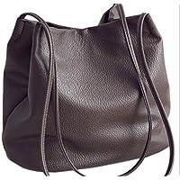 YCMDM spalla delle donne della borsa del sacchetto Nuovo Borsa Secchiello borse in pelle lavata semplice , [brown]