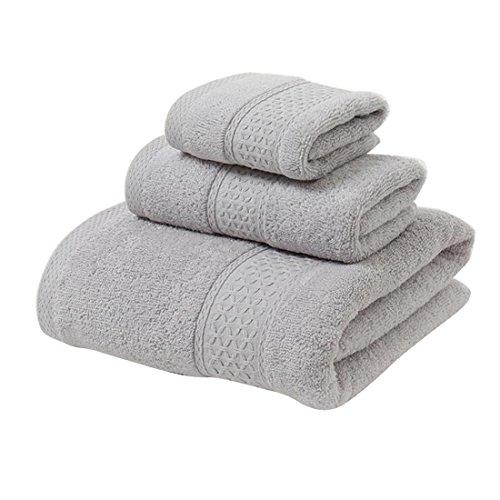 Jitty asciugamano si lusso per hotel e spa, set di 3 pezzi composto da 1 asciugamano da bagno, 1 asciugamano da per le mani e 1 asciugamano da viso, massima morbidezza e assorbenza grigio chiaro