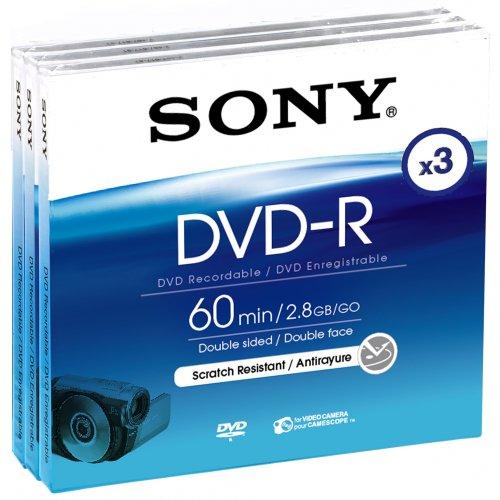 Sony - Doppelseitige DVD-R (recordable) für DVD-Camcorder, 60 Minuten 3er Pack