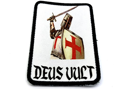 Deus Vult Ritter Templar Cosplay Airsoft Sublimated Morale Patch