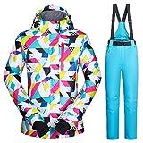 Sanmubo Winddichter Wasserdichter Frauen Damenskianzug Skiset Jacke+Hosen Set Snowboardhose Snowboardjackre Schneehose Hosenträger Skihose Spezielles Ski-Design Outdoor Sport Schneefaren