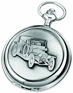 Woodford Skeleton Pocket Watch, 1916/SK, Men's Chrome-Finished Rolls Royce Silver Ghost Pattern with Chain (Suitable for Engraving)