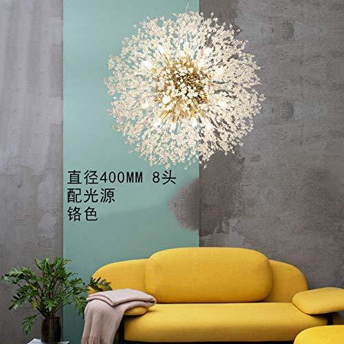 Kreativer Wohnzimmercafé-heller warmer Balllöwenzahn-Feuerwerksluxusleuchter des nordischen Artleuchters3W * 1_400 Chrom Lichtquelle -