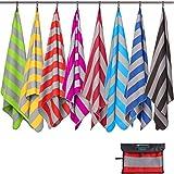 Fit-Flip Strandhandtuch XXL 200x100cm / Rot - Grau gestreift- aufhänger rund, strandlaken 100x200, Handtuch groß 100x200, badetuecher Gross