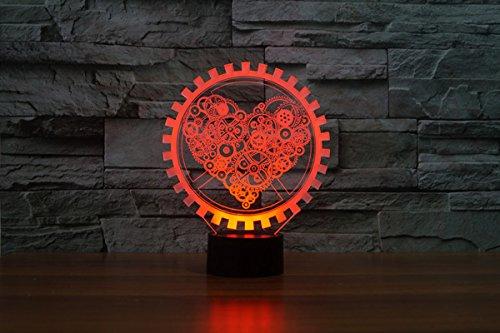 LED Nachtlicht,KINGCOO Magical 3D Visualisierung Amazing Optische Täuschung Touch Control Light 7 Farben ändern Schreibtischlampen für Kinderzimmer Home Decoration Best Geschenk (Liebe Gang) - 6
