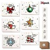 Howaf 36 Piezas Tarjetas de Navidad, Tarjetas de Felicitaciones de Navidad con 36 Sobres y 36 Pegatinas para Invitación Eventos y Navidad Celebración (6 diseños)