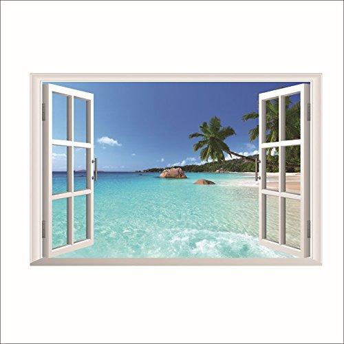 2PCS 3D Fenster-Wand-Aufkleber-Strand-Meer-Wand-Aufkleber-Wand-Abziehbild-Hauptdekor (Strand-wand-abziehbilder Für Kinderzimmer)