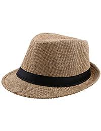 Mieuid Hombre Sombrero De Paja Elegante para con Sombrero De Paja Chic  Unisex De Color Negro para Mujer… 63caeb350e3