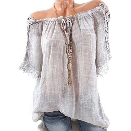 Yinew Damen Hemd OL Pendler Stil Damen Sexy Spitzennähte Chiffon Shirt Kragen Schulter Grau XL