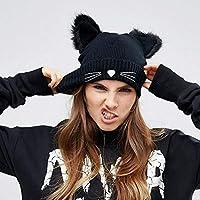 ced8a50ae8725 ZXGJMZ Nuevo Sombrero de Mujer de Orejas de Gato de Punto acrílico cálido  Invierno Beanie Gorras