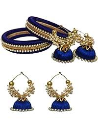Vani Blue & Gold Shine Silk Thread Bangles & Earrings For Women