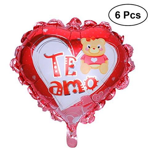 TOYMYTOY 6 unids 24 Pulgadas Te Amo Globos en Forma de Corazón de Papel de Aluminio Globos para San Valentín Día de Compromiso Decoración Del Banquete de Boda