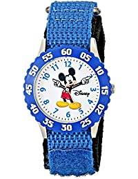 """Disney Kids' W000228 """"Time Teacher"""" Stainless Steel Watch with Blue Nylon Band"""