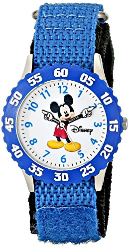 disney-kids-w000228-time-teacher-stainless-steel-watch-with-blue-nylon-band