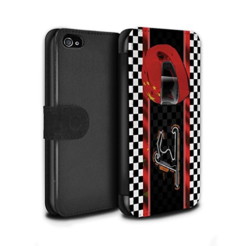 Stuff4 Coque/Etui/Housse Cuir PU Case/Cover pour Apple iPhone 4/4S / Singapour Design / F1 Piste Drapeau Collection Chine/Shanghai