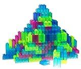 Strictly Briks - Premium-Bausteine - kompatibel mit großen Bausteinen Aller führenden Marken - nur für Steine mit großen Noppen geeignet - 108 Stück - Transparent, Hellgrün, Türkis, Magenta, Blau