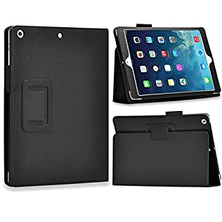 Folio Slim Fit Leather Smart Cover Case with Auto Sleep / Wake Feature for iPad Air Ipad 5 (black)