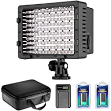 Neewer reg Kit de CN-160 Panel LED regulable Ultra alta potencia luz de Video: luz del LED CN-160, (2) batería 2600 mAh, cargador USB y estuche para Canon, Nikon, Pentax, cámaras DSLR de Sony, videocámaras digitales