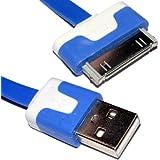 30 Broches iPhone iPod iPad Données & Chargement USB Plat câble Bleu 3 m Long
