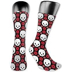 Dama Home Calaveras y flores rojas unisex calcetines compresión