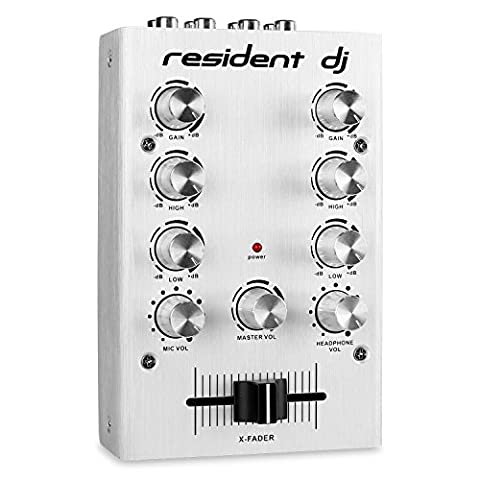 Resident DJ Pikknikk 2-Channel DJ Mixer Ultra-Compact Master, Record and Headphone Outputs for Signal Routing (Microphone Input with Separate Volume Control, 2 Line Inputs with 2-Band EQ for Sound Adjustment, Power LED) Silver