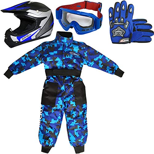 Leopard LEO-X19 Casco da Motocross per Bambini off-Road + Occhiali + Guanti + Tuta da Motocross per Bambini, Completo da Uomo L (9-10 Anni), Blu - Casco&Guanti M