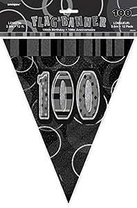 12ft Foil Glitz Black 100th Birthday Bunting Flags