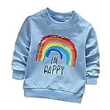 Jimmackey Neonato Bambino Manica Lunga Pullover Felpe Arcobaleno Magliette T-Shirt Cime (Blu, 12 mesi)