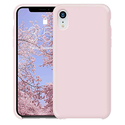 iPhone XR Hülle, FGA Flüssiges Silikon Gummi Hülle, Starke Schutzhülle für Apple iPhone XR 6.1 Zoll (2018), Pink Sand Pink Gummi Case
