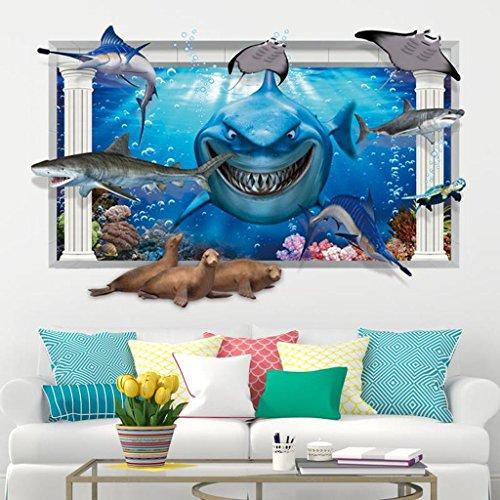 DZW Ins Nordic Cartoon Wandaufkleber, Acryl 3D Wandaufkleber, Umweltfreundliche Materialien, Einzigartige Form, Lebendige, Geeignet FüR Kinderzimmer Dekoration , big , big sharks (Shark-grafik)